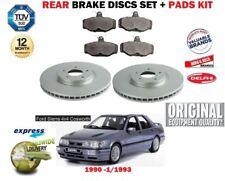 FOR FORD SIERRA 2.0 16V 4X4 COSWORTH 1990-1993 REAR BRAKE DISCS SET + PADS KIT
