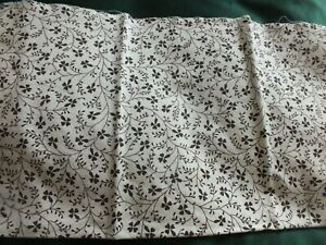 Vintage Laura Ashley Fabric - Campion White/Brown 2 small pieces