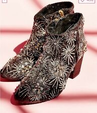 Free People Night Out Ankle Boot Beaded Embellished Sequin Velvet Embroidered 39
