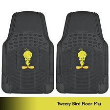 Pair of Rubber Floor Mats Gift Set Tweety Bird Character Logo on Black