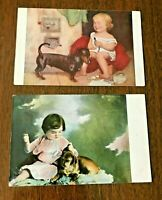 ANTIQUE POSTCARDS, lot of 2, LITTLE GIRLS WITH DOGS, DACHSHUND, cute