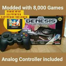 SEGA Genesis Mini Moded w/ 8000 Games, tiny catridge & Analog Controller