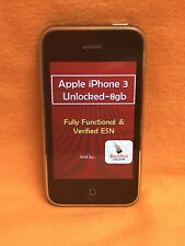GSM UNLOCKED APPLE iPHONE 3G A1241 8GB SMARTPHONE BLACK AT&T T-MOBILE SCHORCHIN