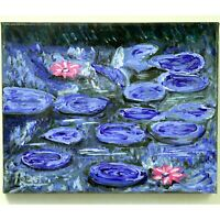 """Monet Blue Saucer Lily Pads Hand Painted Impressionism signed """"Robert"""" COA"""