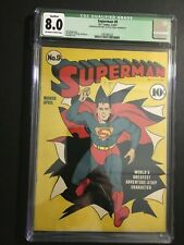 SUPERMAN DC COMIC #9 (3-4/41) OFF-WH-TO WHITE CGC 8.0 NEW CASE!