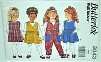 Girls School Jumper Dress Jumpsuit Sewing Pattern 3043 Size 5 6 6x Butterick