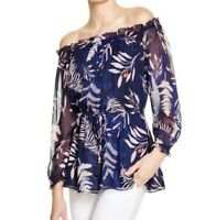 * NWT DianeVonFurstenberg Camila Chiffon OffShoulder Blouse Blue with Leafs 8 10