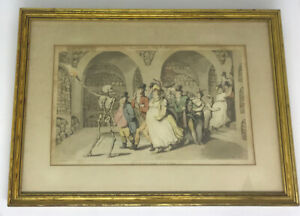1815 Thomas Rowlandson DANCE OF DEATH hand colored aquatint THE VISION OF SKULLS