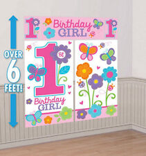 Girl 1st Happy Birthday Scene Setter first Party wall decoration flowers hearts