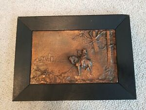 Vintage Copper Arts & Crafts Hunting scene