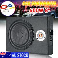 AU 600W 8'' Car Subwoofer Active Audio bass Speaker Stereo Amplifier Sub Woofer