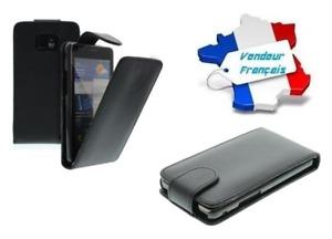 Housse Etui Coque Luxe (CUIR NOIR) ~ HTC incredible S (G11)