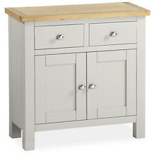 Farrow Grey Painted Mini Sideboard with Drawers / Painted Small Sideboard / Oak