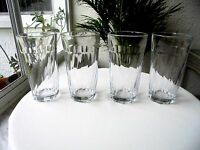 Set of 4 Vintage Clear Swirl Highball Glasses