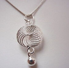 Coiled Spiral and Silver Ball Pendant 925 Sterling Silver Corona Sun Jewelry