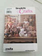 vintage simplicity crafts sewing patterns, 9894, bears, pre-owned, cut