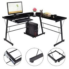 L-Shape Computer Desk PC Laptop Table Glass Top Workstation Corner Home Office