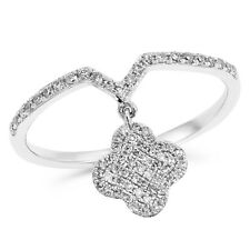 Cocktail Clover Flower Right Hand Ring 14K White Gold Pave Round Diamond