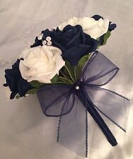 WEDDING FLOWERS NAVY BLUE / IVORY FOAM ROSE BRIDESMAID BOUQUET ARTIFICIAL ROSES