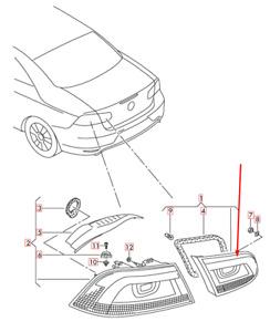VOLKSWAGEN EOS 1F7 Rear Tailgate Trunk Lid Right Light 1Q0945094AD NEW GENUINE