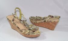 Chinese Laundry Women's Cork Wedge Sandals Sz 9 M  Green Floral Canvas Straps