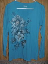 Women's Hanes live love color Teal V-neck Shirt with Glitter Flowers