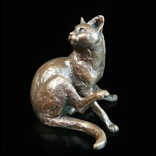 Cat Sitting Solid Bronze Foundry Cast Sculpture by Michael Simpson [745]