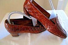 Sesto Meucci Women's Brown Italian Woven Leather Heel Loafer Shoe - Size 7M