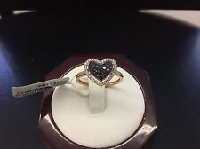 14kt Rose Gold Micro Pave White and Black Diamond Heart Shaped Ladies Ring