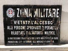 Targa Zona Militare tabella 1930 insegna smaltata fascio regno italia vietato