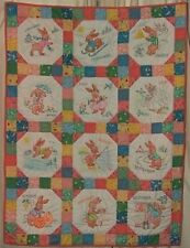 Vintage Baby Embroidered Crib Quilt Pattern Bunny Months 1940s Mail Order *