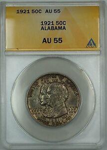1921 Alabama Commemorative Silver Half Dollar Coin ANACS AU-55 Toned
