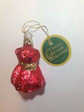 *NEW* Inge-Glas German Christmas Tree Ornament - Mini Bear Red - 401-338-01