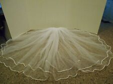 David's Bridal 2 Tier Wedding Veil - Pearl Comb with Waterfall Veil - White -28""