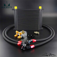 New 30 Row Engine Oil Cooler w/ 80 Deg Thermostat Plate + AN10 Oil Lines Kit