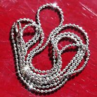 "18k 750 white gold necklace 15.5"" Italian faceted bead link chain handmade 1.8gr"