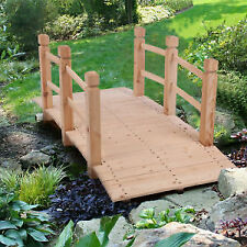Garden Bridge, Classic Wooden Arch with Safety Rails Natural Finis