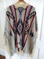 Boho Southwest Aztec Soft Wool Woven Warm Poncho Shawl Wrap Womens Fringe