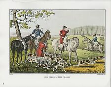 "1972 Vintage Currier & Ives HUNTING ""FOX CHASE THE DEATH"" COLOR Print Lithograph"