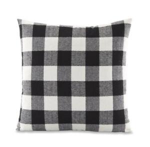 """Black & White Buffalo Plaid Feather Filled Throw Pillows (Set of 2 - 18""""x 18"""")"""