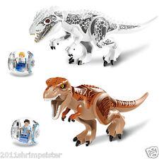 2X dinosaur World Tyrannosaurus Rex Building Toys Active Figures Jurassic Period