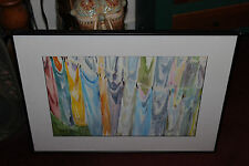 Pamela Galwey Wooley Signed Oil Painting-Colorful Sheets Hanging Clothes Lines
