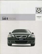 Volvo S60 R Specification 2004-05 UK Market Brochure