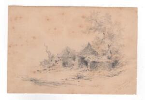 Xanthus Smith Pencil Study Ruinous Buildings Pennepack PA 1872