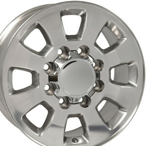 "18"" Rim Fits 8-Lug Chevy 2500 3500 8x165 CV75A Polished 5501 18x8 Wheel"