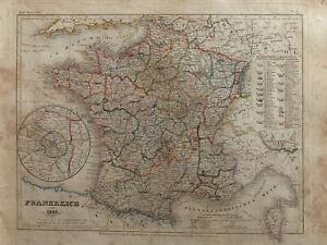 1849 FRANCE ORIGINAL ANTIQUE HAND COLOURED MAP BY JOSEPH MEYER