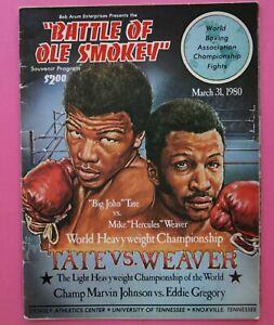 Boxing Program: John Tate vs Mike Weaver 1980 Knoxville +Johnson v Gregory