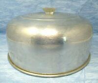 Vintage Domed Cake Lid aluminum clear plastic handle 11 in wide 6 in tall