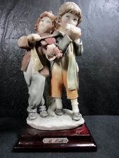 Capodimonte Harmonica & Fiddle Playing Boys Signed Florence Figurine