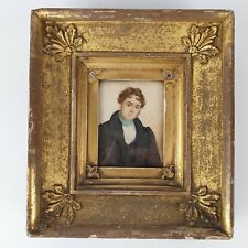 More details for antique early 19th century portrait miniature a young man gentleman gilt frame